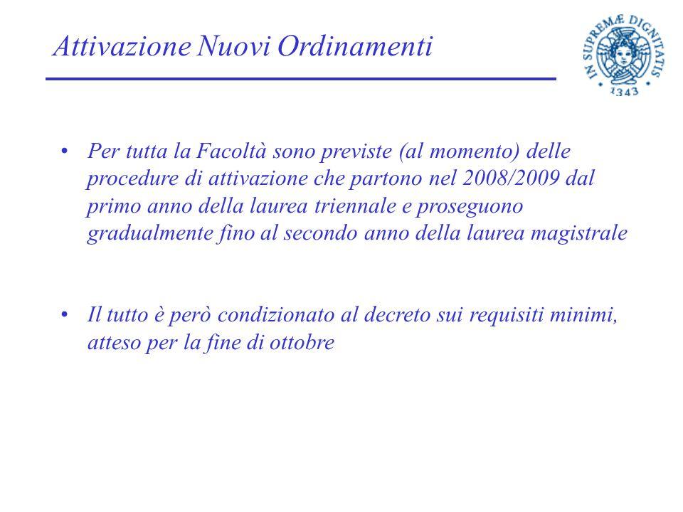 Attivazione Nuovi Ordinamenti Per tutta la Facoltà sono previste (al momento) delle procedure di attivazione che partono nel 2008/2009 dal primo anno
