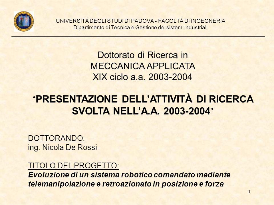 1 UNIVERSITÀ DEGLI STUDI DI PADOVA - FACOLTÀ DI INGEGNERIA Dipartimento di Tecnica e Gestione dei sistemi industriali Dottorato di Ricerca in MECCANIC