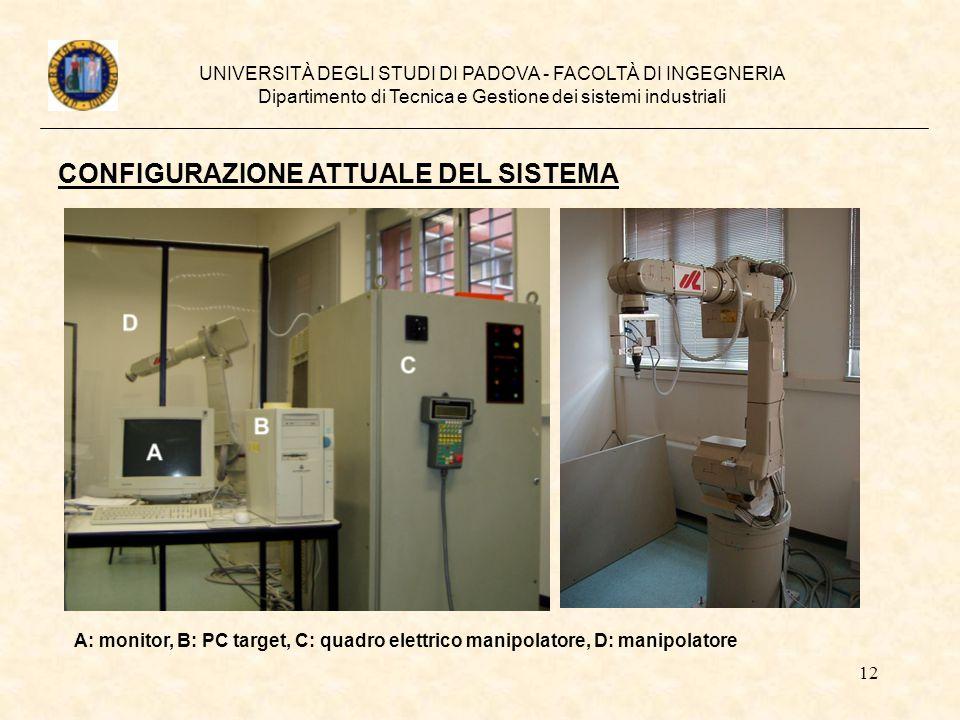 12 UNIVERSITÀ DEGLI STUDI DI PADOVA - FACOLTÀ DI INGEGNERIA Dipartimento di Tecnica e Gestione dei sistemi industriali A: monitor, B: PC target, C: qu