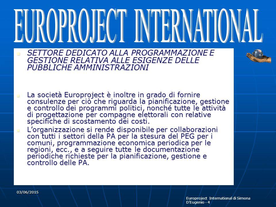 Europroject International di Simona D'Eugenio - 4 03/06/2015 SETTORE DEDICATO ALLA PROGRAMMAZIONE E GESTIONE RELATIVA ALLE ESIGENZE DELLE PUBBLICHE AMMINISTRAZIONI SETTORE DEDICATO ALLA PROGRAMMAZIONE E GESTIONE RELATIVA ALLE ESIGENZE DELLE PUBBLICHE AMMINISTRAZIONI La società Europroject è inoltre in grado di fornire consulenze per ciò che riguarda la pianificazione, gestione e controllo dei programmi politici, nonché tutte le attività di progettazione per compagne elettorali con relative specifiche di scostamento dei costi.