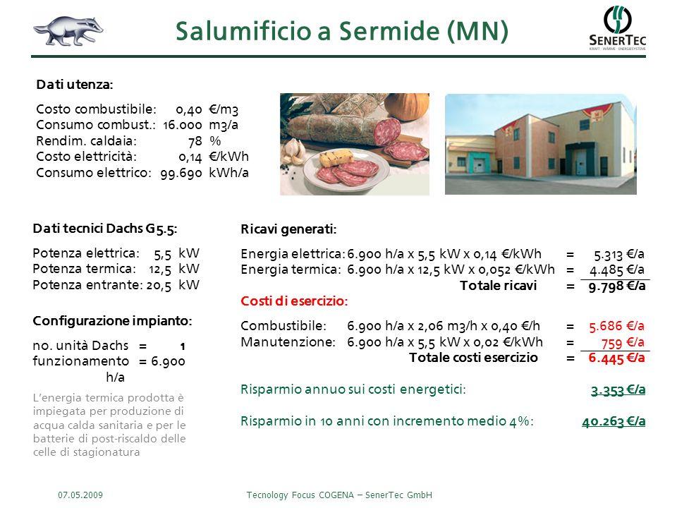 07.05.2009Tecnology Focus COGENA – SenerTec GmbH Salumificio a Sermide (MN) Ricavi generati: Energia elettrica:6.900 h/a x 5,5 kW x 0,14 €/kWh=5.313 €/a Energia termica:6.900 h/a x 12,5 kW x 0,052 €/kWh=4.485 €/a Totale ricavi= 9.798 €/a Costi di esercizio: Combustibile:6.900 h/a x 2,06 m3/h x 0,40 €/h=5.686 €/a Manutenzione:6.900 h/a x 5,5 kW x 0,02 €/kWh= 759 €/a Totale costi esercizio= 6.445 €/a Risparmio annuo sui costi energetici:3.353 €/a Risparmio in 10 anni con incremento medio 4%:40.263 €/a Dati tecnici Dachs G5.5: Potenza elettrica:5,5kW Potenza termica:12,5kW Potenza entrante:20,5kW Dati utenza: Costo combustibile:0,40€/m3 Consumo combust.:16.000m3/a Rendim.