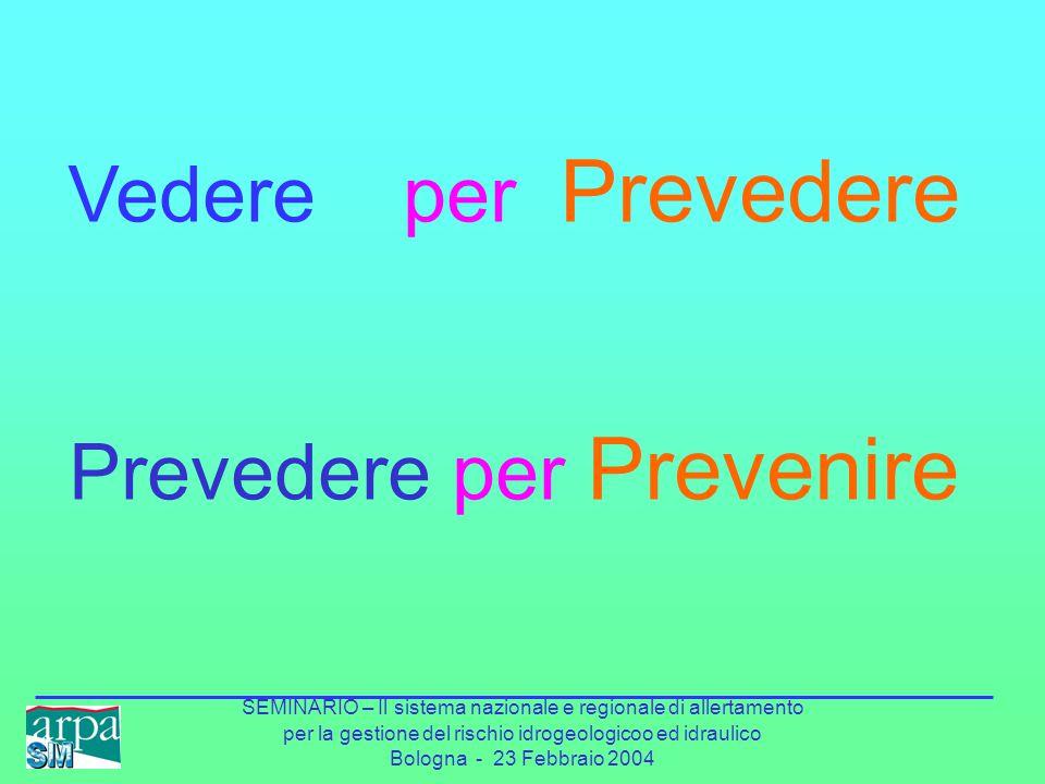 SEMINARIO – Il sistema nazionale e regionale di allertamento per la gestione del rischio idrogeologicoo ed idraulico Bologna - 23 Febbraio 2004 Vedere per Prevedere Prevedere per Prevenire