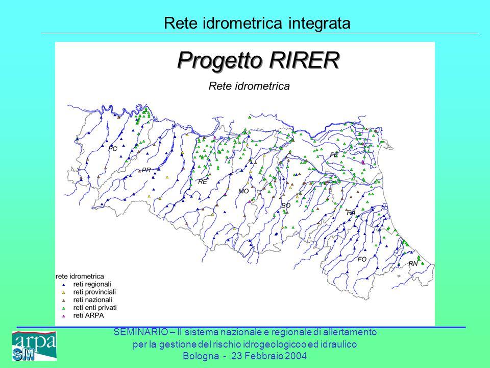 SEMINARIO – Il sistema nazionale e regionale di allertamento per la gestione del rischio idrogeologicoo ed idraulico Bologna - 23 Febbraio 2004 Rete idrometrica integrata