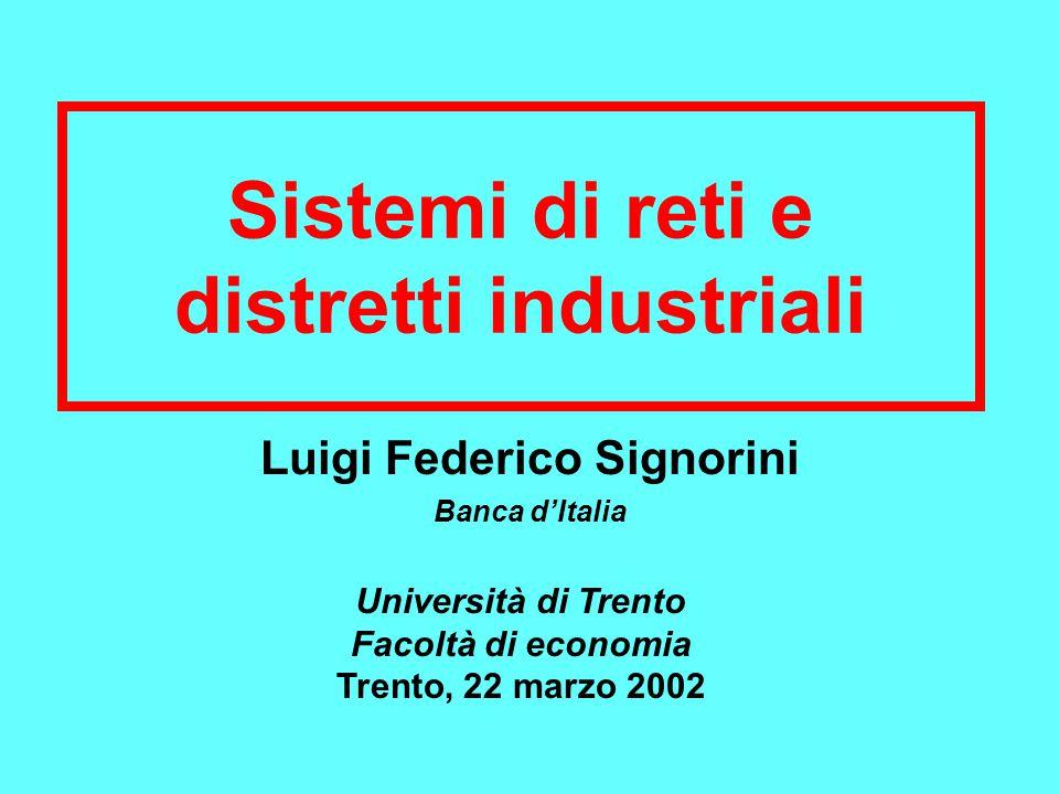 Sistemi di reti e distretti industriali Luigi Federico Signorini Banca d'Italia Università di Trento Facoltà di economia Trento, 22 marzo 2002