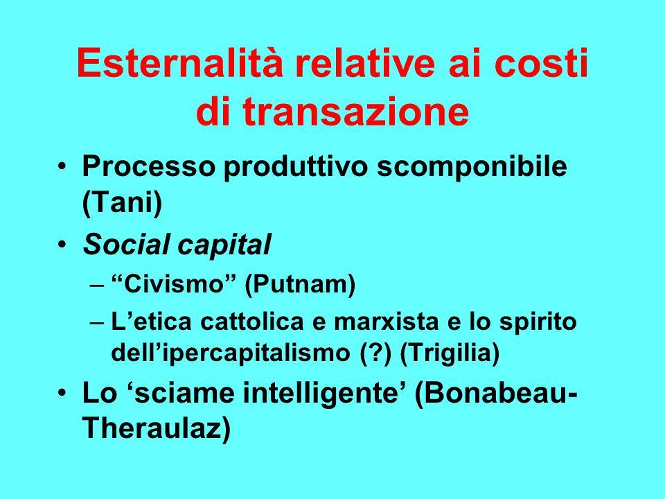 Esternalità relative ai costi di transazione Processo produttivo scomponibile (Tani) Social capital – Civismo (Putnam) –L'etica cattolica e marxista e lo spirito dell'ipercapitalismo ( ) (Trigilia) Lo 'sciame intelligente' (Bonabeau- Theraulaz)