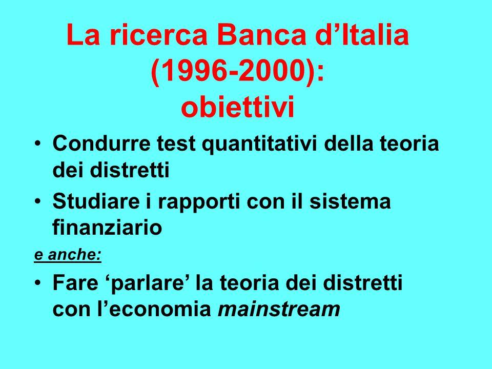 La ricerca Banca d'Italia (1996-2000): obiettivi Condurre test quantitativi della teoria dei distretti Studiare i rapporti con il sistema finanziario e anche: Fare 'parlare' la teoria dei distretti con l'economia mainstream