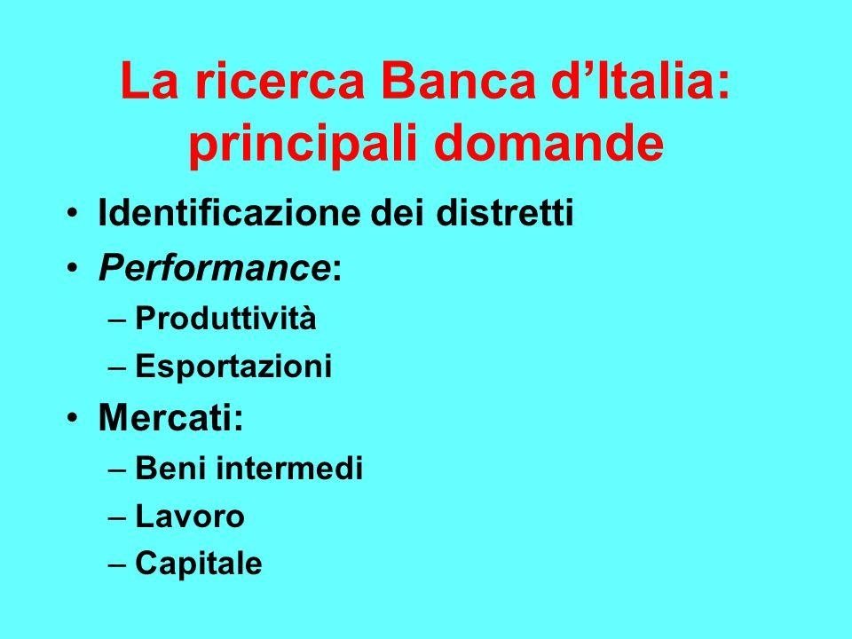 La ricerca Banca d'Italia: principali domande Identificazione dei distretti Performance: –Produttività –Esportazioni Mercati: –Beni intermedi –Lavoro –Capitale