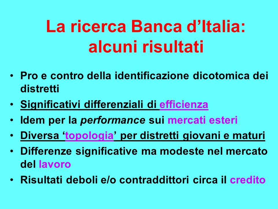 La ricerca Banca d'Italia: alcuni risultati Pro e contro della identificazione dicotomica dei distretti Significativi differenziali di efficienza Idem