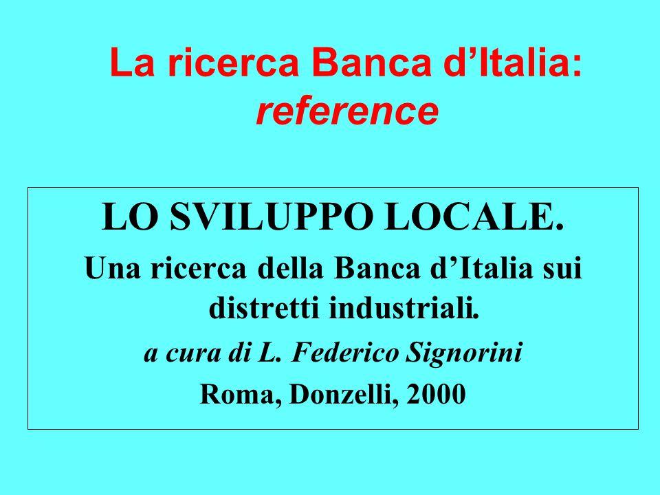 La ricerca Banca d'Italia: reference LO SVILUPPO LOCALE.
