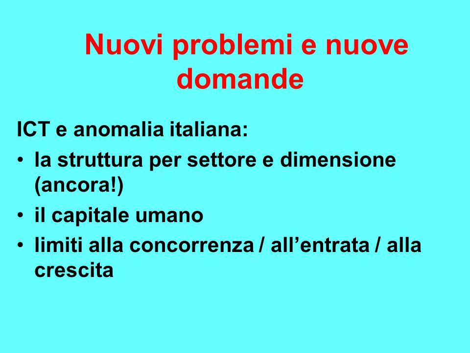Nuovi problemi e nuove domande ICT e anomalia italiana: la struttura per settore e dimensione (ancora!) il capitale umano limiti alla concorrenza / al