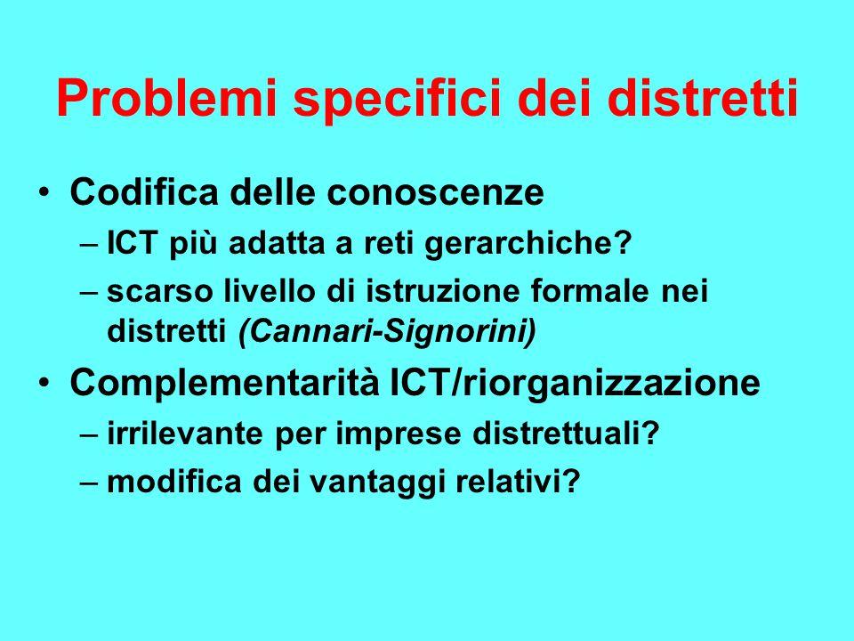 Problemi specifici dei distretti Codifica delle conoscenze –ICT più adatta a reti gerarchiche? –scarso livello di istruzione formale nei distretti (Ca