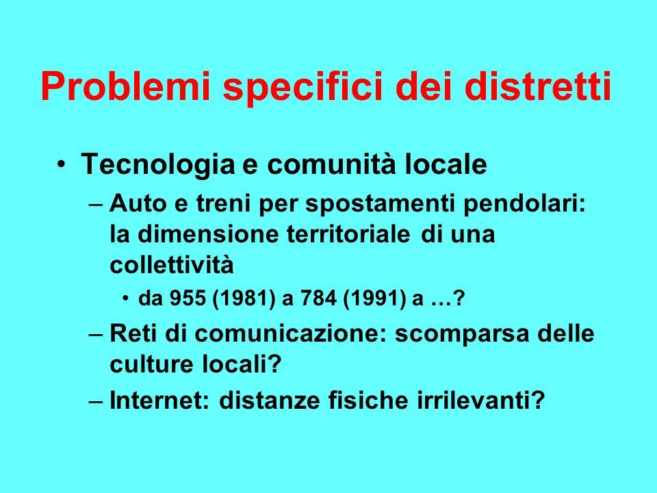 Problemi specifici dei distretti Tecnologia e comunità locale –Auto e treni per spostamenti pendolari: la dimensione territoriale di una collettività da 955 (1981) a 784 (1991) a ….