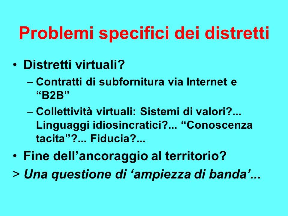 Problemi specifici dei distretti Distretti virtuali.