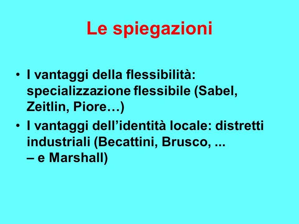 Le spiegazioni I vantaggi della flessibilità: specializzazione flessibile (Sabel, Zeitlin, Piore…) I vantaggi dell'identità locale: distretti industriali (Becattini, Brusco,...