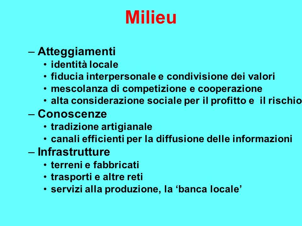 Milieu –Atteggiamenti identità locale fiducia interpersonale e condivisione dei valori mescolanza di competizione e cooperazione alta considerazione s