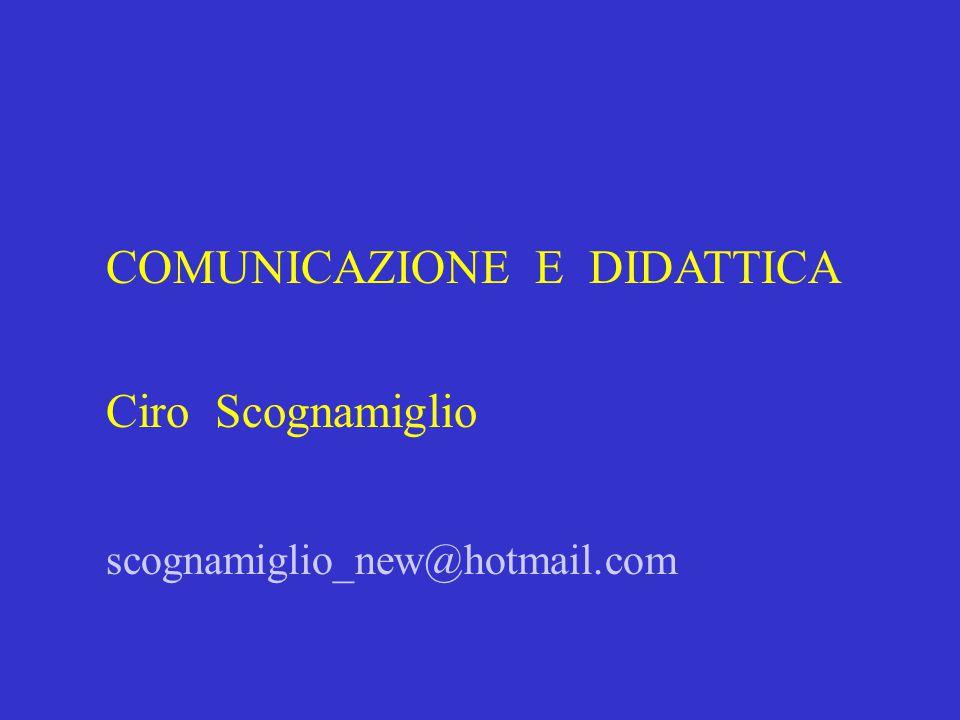COMUNICAZIONE E DIDATTICA Ciro Scognamiglio scognamiglio_new@hotmail.com