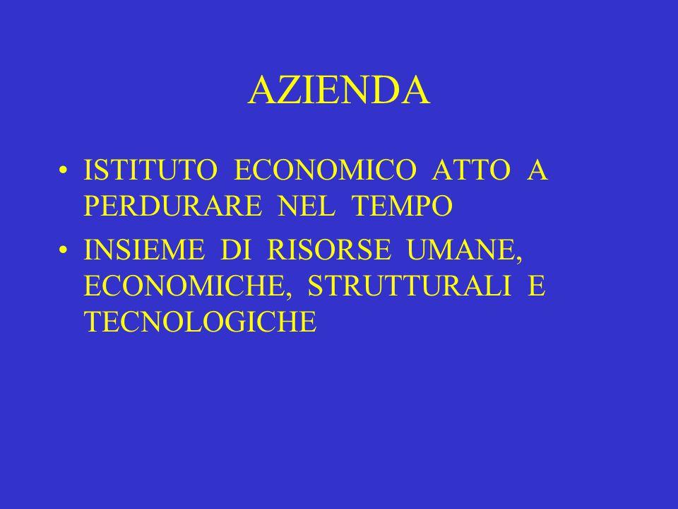 AZIENDA ISTITUTO ECONOMICO ATTO A PERDURARE NEL TEMPO INSIEME DI RISORSE UMANE, ECONOMICHE, STRUTTURALI E TECNOLOGICHE
