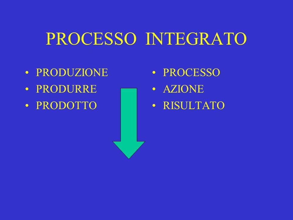 PROCESSO INTEGRATO PRODUZIONE PRODURRE PRODOTTO PROCESSO AZIONE RISULTATO