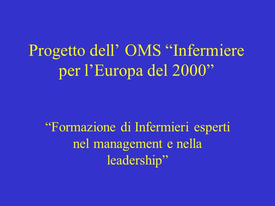 """Progetto dell' OMS """"Infermiere per l'Europa del 2000"""" """"Formazione di Infermieri esperti nel management e nella leadership"""""""
