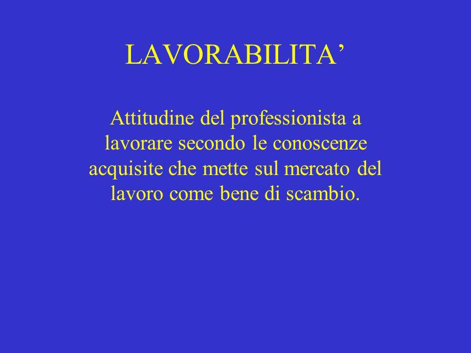 LAVORABILITA' Attitudine del professionista a lavorare secondo le conoscenze acquisite che mette sul mercato del lavoro come bene di scambio.