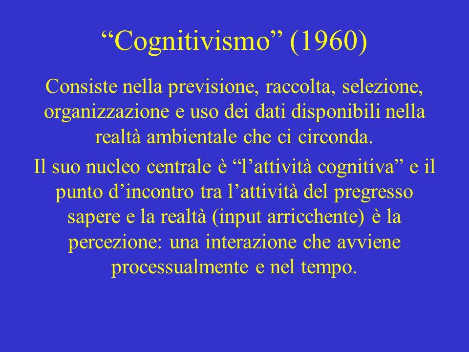 """""""Cognitivismo"""" (1960) Consiste nella previsione, raccolta, selezione, organizzazione e uso dei dati disponibili nella realtà ambientale che ci circond"""