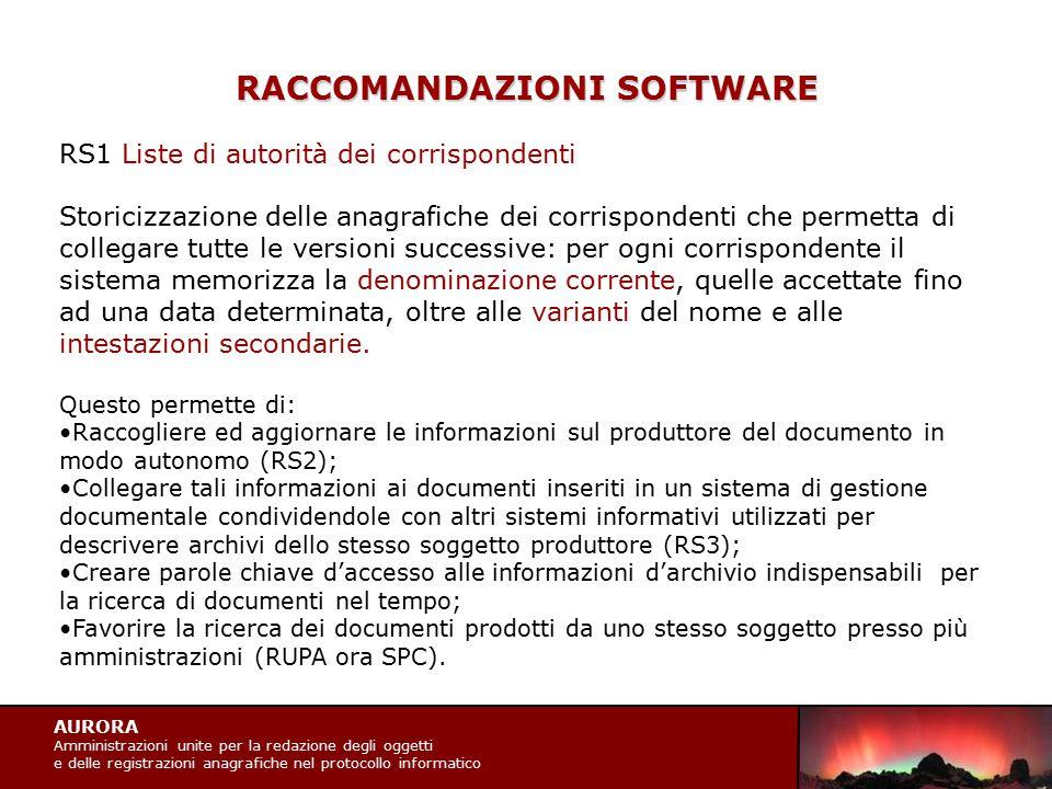 AURORA Amministrazioni unite per la redazione degli oggetti e delle registrazioni anagrafiche nel protocollo informatico RACCOMANDAZIONI SOFTWARE RS1