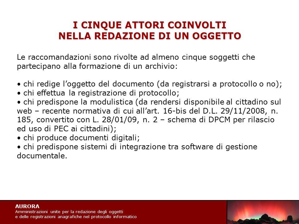 AURORA Amministrazioni unite per la redazione degli oggetti e delle registrazioni anagrafiche nel protocollo informatico I CINQUE ATTORI COINVOLTI NEL