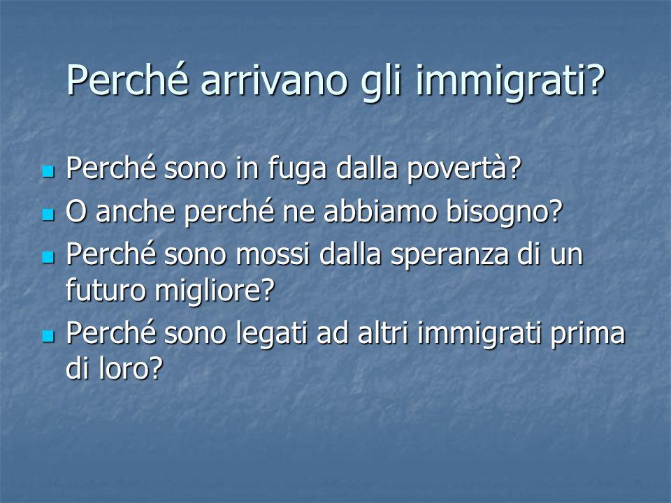 Perché arrivano gli immigrati.Perché sono in fuga dalla povertà.