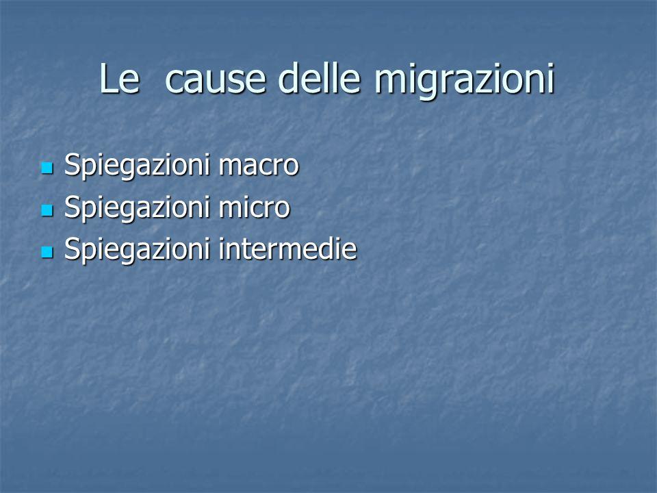 Le cause delle migrazioni Spiegazioni macro Spiegazioni macro Spiegazioni micro Spiegazioni micro Spiegazioni intermedie Spiegazioni intermedie