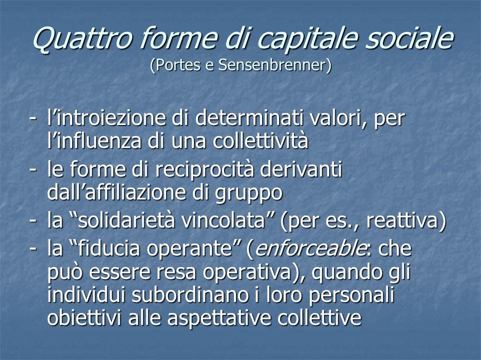 Quattro forme di capitale sociale (Portes e Sensenbrenner) - l'introiezione di determinati valori, per l'influenza di una collettività - le forme di reciprocità derivanti dall'affiliazione di gruppo - la solidarietà vincolata (per es., reattiva) - la fiducia operante (enforceable: che può essere resa operativa), quando gli individui subordinano i loro personali obiettivi alle aspettative collettive