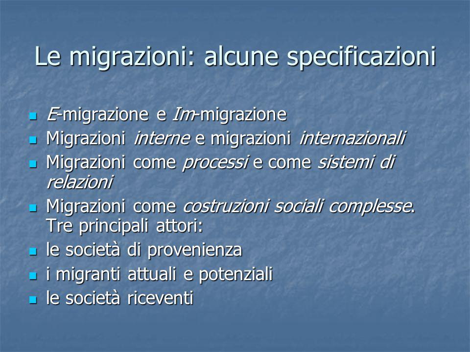 Le migrazioni: alcune specificazioni E-migrazione e Im-migrazione E-migrazione e Im-migrazione Migrazioni interne e migrazioni internazionali Migrazioni interne e migrazioni internazionali Migrazioni come processi e come sistemi di relazioni Migrazioni come processi e come sistemi di relazioni Migrazioni come costruzioni sociali complesse.