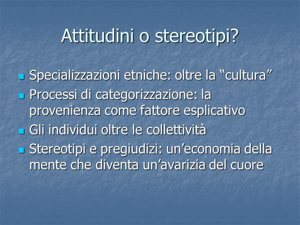 Attitudini o stereotipi.