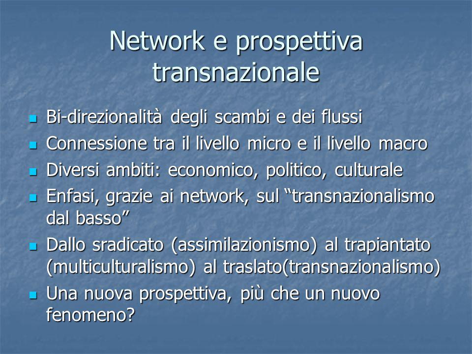 Network e prospettiva transnazionale Bi-direzionalità degli scambi e dei flussi Bi-direzionalità degli scambi e dei flussi Connessione tra il livello micro e il livello macro Connessione tra il livello micro e il livello macro Diversi ambiti: economico, politico, culturale Diversi ambiti: economico, politico, culturale Enfasi, grazie ai network, sul transnazionalismo dal basso Enfasi, grazie ai network, sul transnazionalismo dal basso Dallo sradicato (assimilazionismo) al trapiantato (multiculturalismo) al traslato(transnazionalismo) Dallo sradicato (assimilazionismo) al trapiantato (multiculturalismo) al traslato(transnazionalismo) Una nuova prospettiva, più che un nuovo fenomeno.