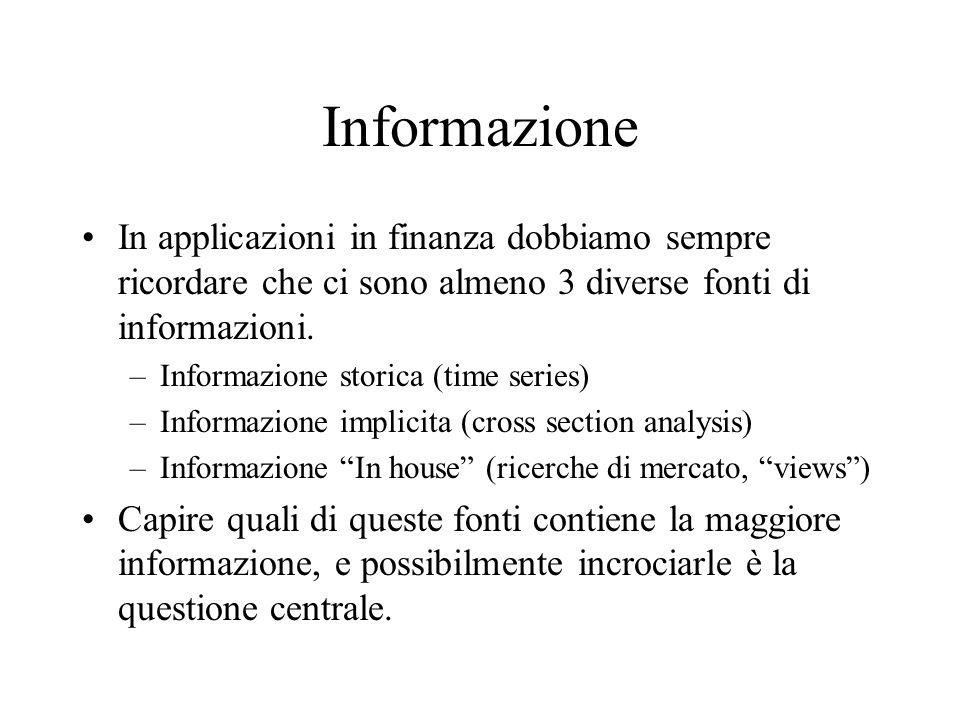 Informazione In applicazioni in finanza dobbiamo sempre ricordare che ci sono almeno 3 diverse fonti di informazioni.