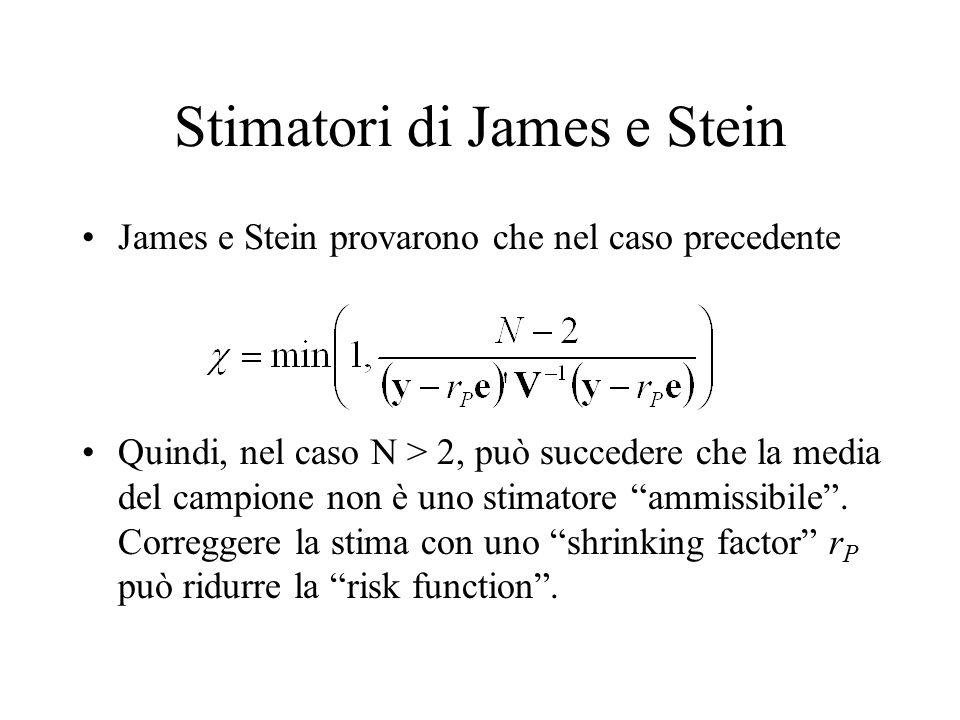 Stimatori di James e Stein James e Stein provarono che nel caso precedente Quindi, nel caso N > 2, può succedere che la media del campione non è uno stimatore ammissibile .