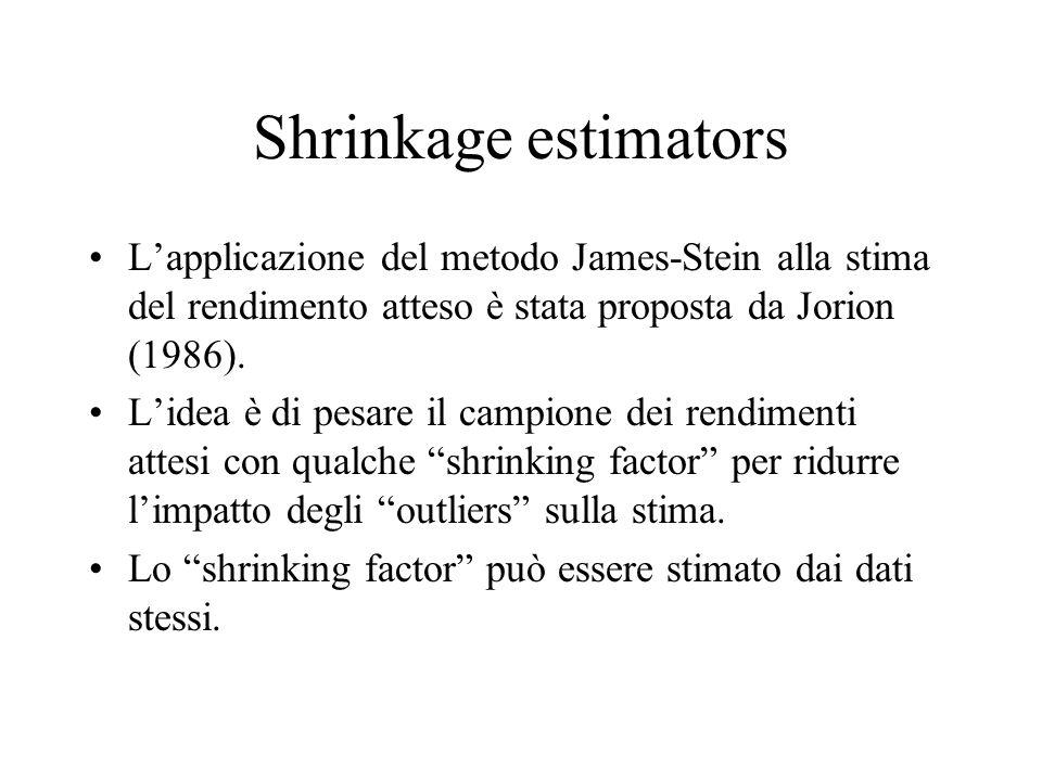 Shrinkage estimators L'applicazione del metodo James-Stein alla stima del rendimento atteso è stata proposta da Jorion (1986).