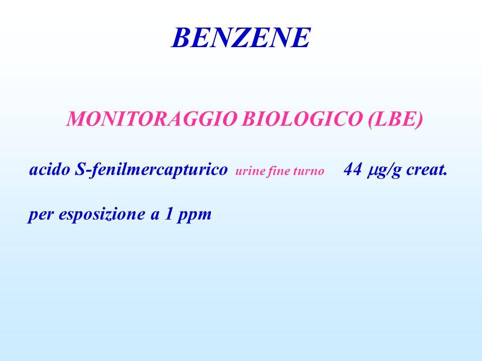 BENZENE MONITORAGGIO BIOLOGICO (LBE) acido S-fenilmercapturico urine fine turno 44  g/g creat. per esposizione a 1 ppm