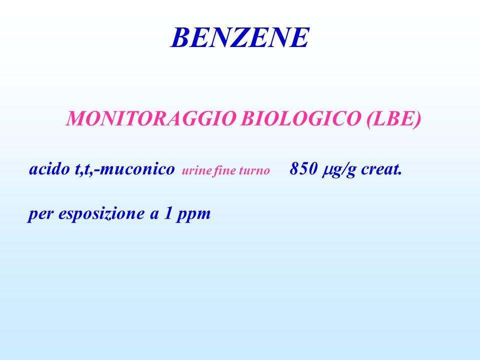 BENZENE MONITORAGGIO BIOLOGICO (LBE) acido t,t,-muconico urine fine turno 850  g/g creat. per esposizione a 1 ppm