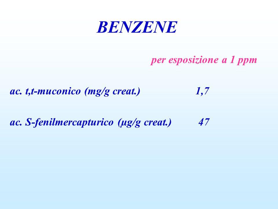 BENZENE per esposizione a 1 ppm ac. t,t-muconico (mg/g creat.) 1,7 ac. S-fenilmercapturico (µg/g creat.) 47