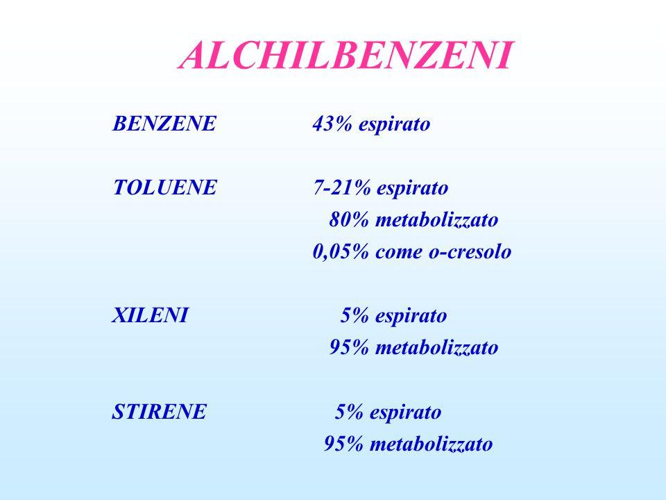 ALCHILBENZENI BENZENE43% espirato TOLUENE7-21% espirato 80% metabolizzato 0,05% come o-cresolo XILENI 5% espirato 95% metabolizzato STIRENE 5% espirato 95% metabolizzato