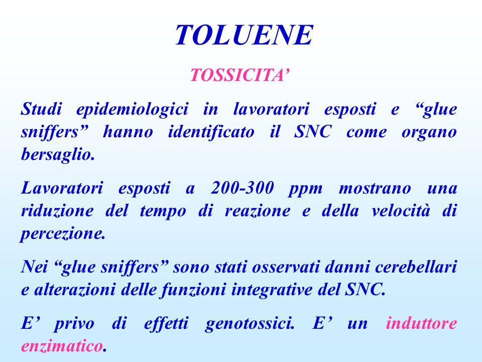 """TOLUENE TOSSICITA' Studi epidemiologici in lavoratori esposti e """"glue sniffers"""" hanno identificato il SNC come organo bersaglio. Lavoratori esposti a"""