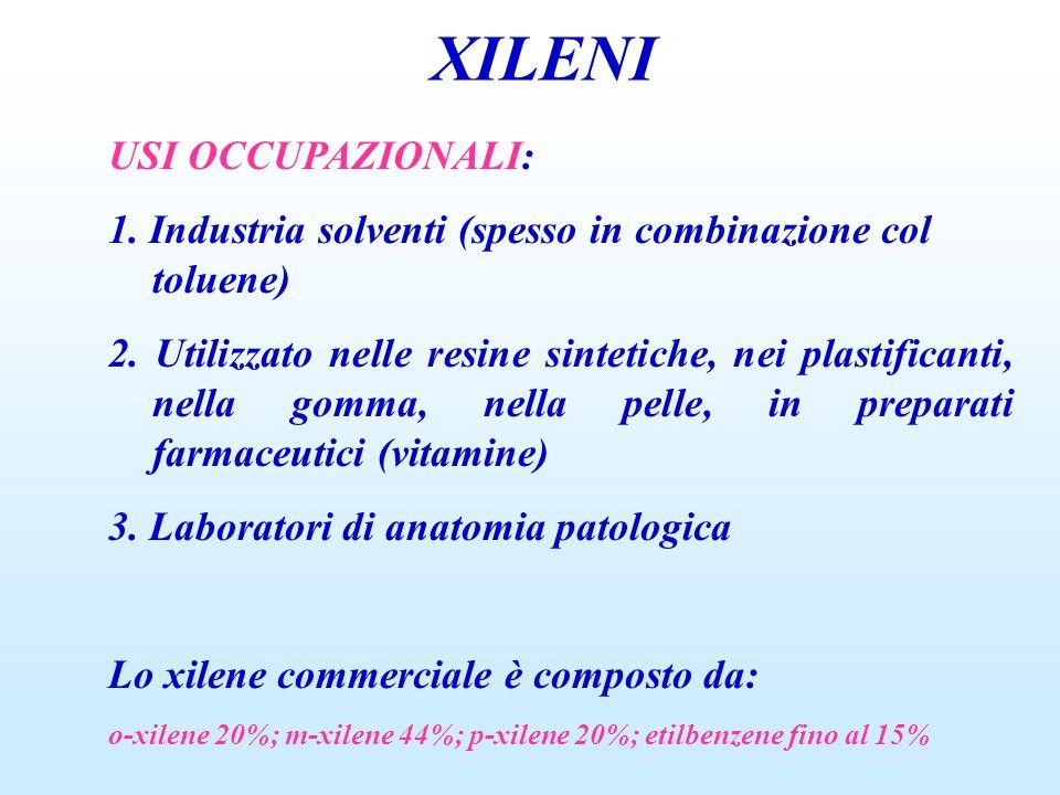 XILENI USI OCCUPAZIONALI: 1. Industria solventi (spesso in combinazione col toluene) 2. Utilizzato nelle resine sintetiche, nei plastificanti, nella g