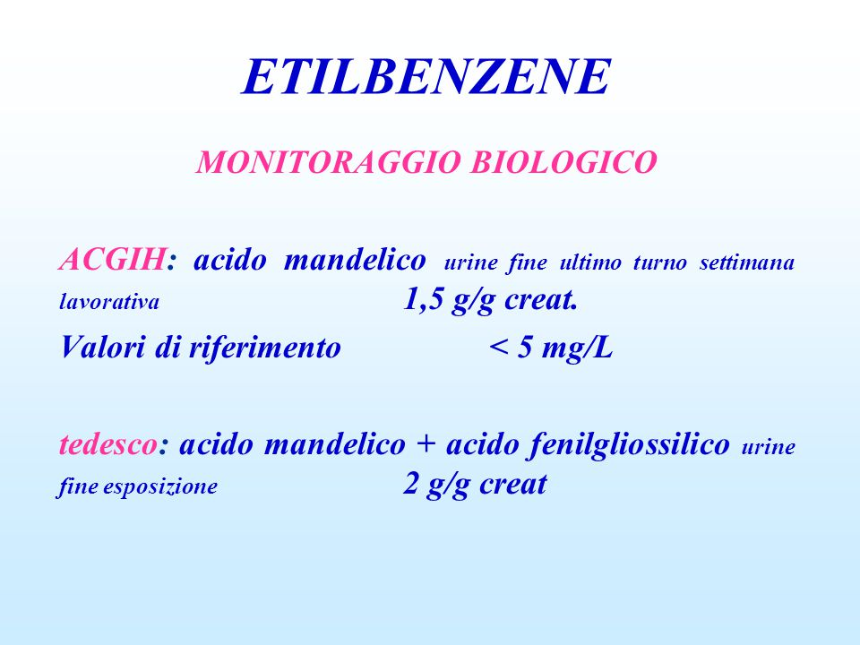 MONITORAGGIO BIOLOGICO ACGIH: acido mandelico urine fine ultimo turno settimana lavorativa 1,5 g/g creat. Valori di riferimento< 5 mg/L tedesco: acido