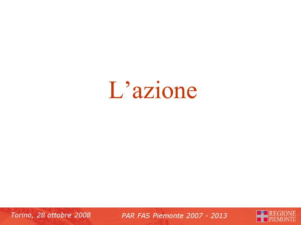 Torino, 28 ottobre 2008 PAR FAS Piemonte 2007 - 2013 L'azione