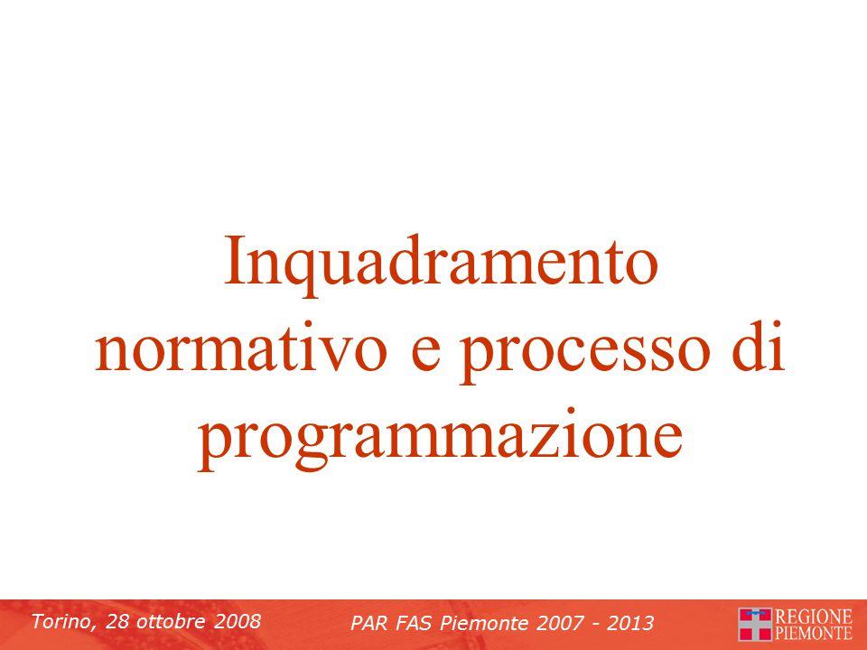 Torino, 28 ottobre 2008 PAR FAS Piemonte 2007 - 2013 Inquadramento normativo e processo di programmazione