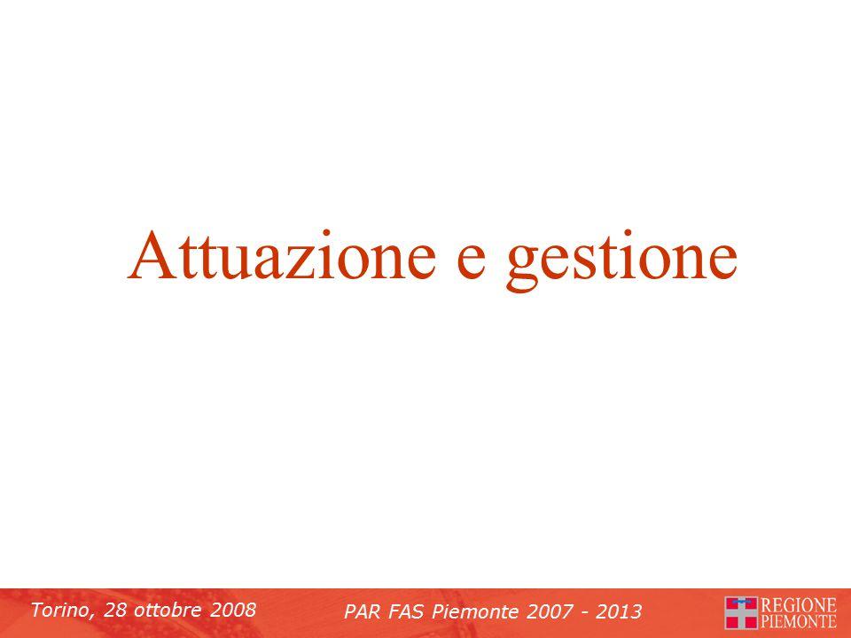 Torino, 28 ottobre 2008 PAR FAS Piemonte 2007 - 2013 Attuazione e gestione
