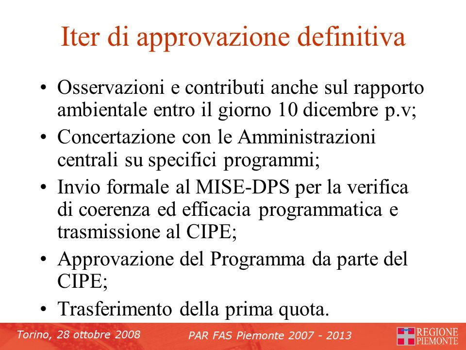 Torino, 28 ottobre 2008 PAR FAS Piemonte 2007 - 2013 Iter di approvazione definitiva Osservazioni e contributi anche sul rapporto ambientale entro il giorno 10 dicembre p.v; Concertazione con le Amministrazioni centrali su specifici programmi; Invio formale al MISE-DPS per la verifica di coerenza ed efficacia programmatica e trasmissione al CIPE; Approvazione del Programma da parte del CIPE; Trasferimento della prima quota.