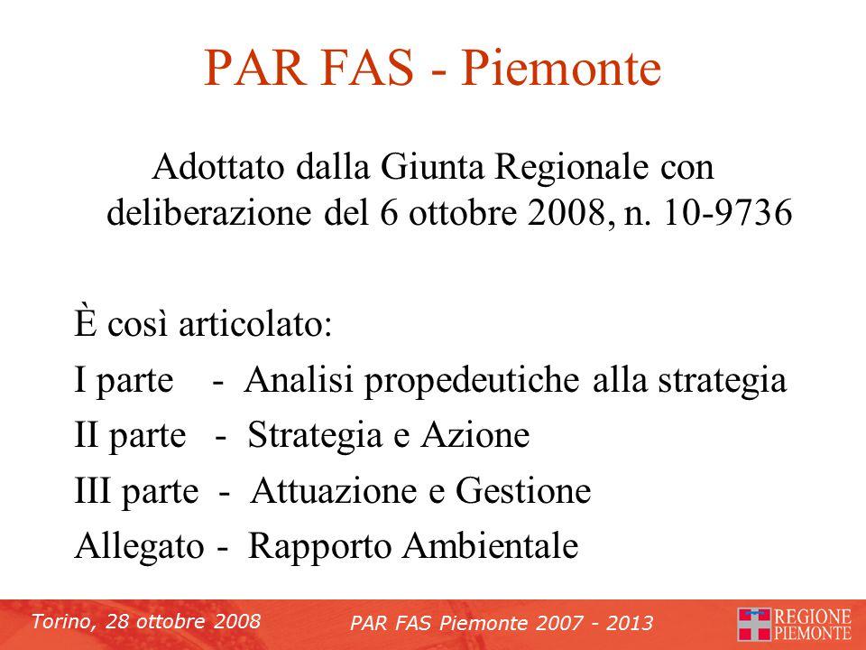 Torino, 28 ottobre 2008 PAR FAS Piemonte 2007 - 2013 PAR FAS - Piemonte Adottato dalla Giunta Regionale con deliberazione del 6 ottobre 2008, n.