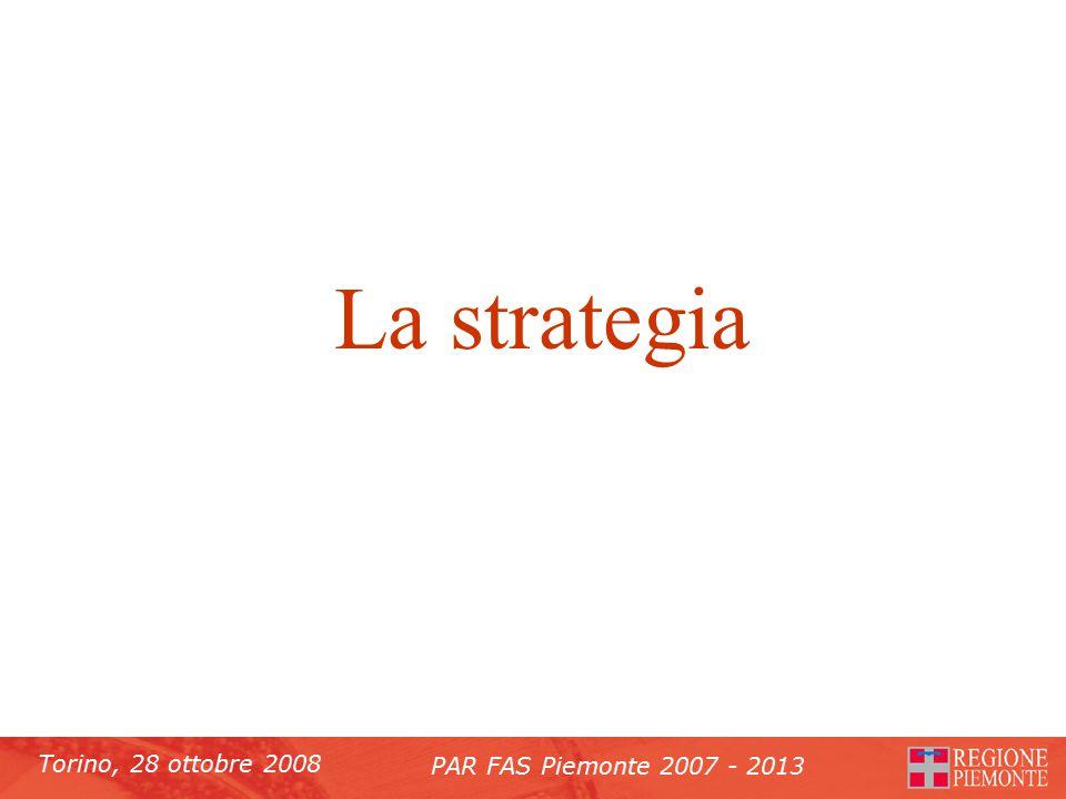 Torino, 28 ottobre 2008 PAR FAS Piemonte 2007 - 2013 La strategia