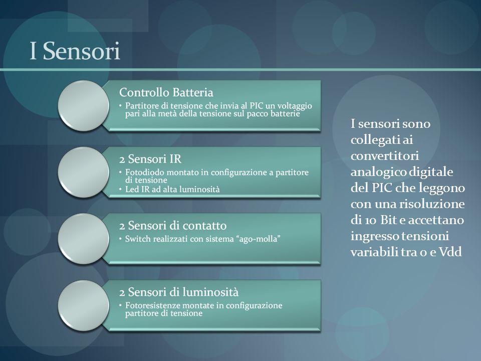 I Sensori I sensori sono collegati ai convertitori analogico digitale del PIC che leggono con una risoluzione di 10 Bit e accettano ingresso tensioni variabili tra 0 e Vdd